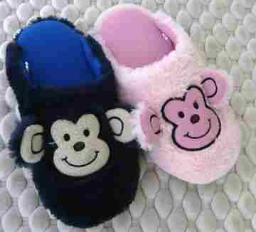 (e鞋院)【可愛小猴】絨毛兒童室內拖鞋