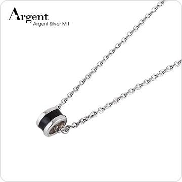 【ARGENT銀飾】迷你系列「祈願小圈(黑)(白K金)」純銀項鍊(1墜1鍊)