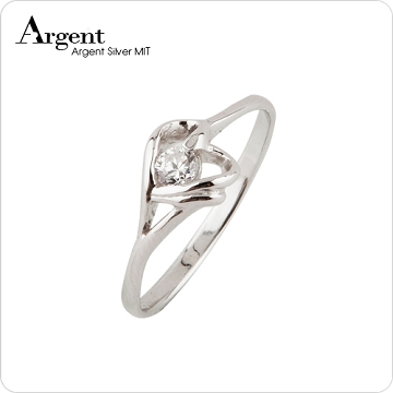 【ARGENT銀飾】微鑲鉑銀閃亮系列「簡愛(白K金)」純銀戒指