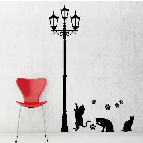 【Smart Design】創意無痕壁貼◆燈光下的貓咪(高150公分)