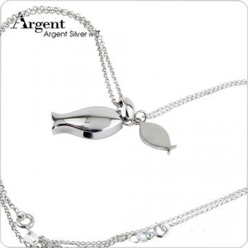 【ARGENT銀飾】情人對墜系列「銀魚」純銀項鍊(一對價)(哨子魚+小銀魚各一條)