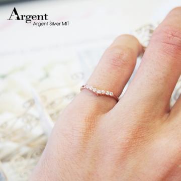 【ARGENT銀飾】微鑲鉑銀閃亮系列「深愛(玫瑰金)」純銀戒指