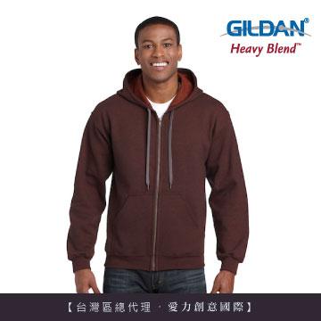 GILDAN 總代理-美規 素面經典復古連帽拉鏈外套-274C赤褐色