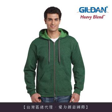 GILDAN 總代理-100%美國棉 素面經典復古連帽拉鏈外套-277C草坪綠