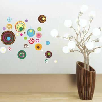 《Smart Life》創意無痕壁貼◆彩色同心圓