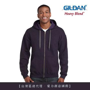 GILDAN 總代理-美規 素面經典復古連帽拉鏈外套-278C黑莓色