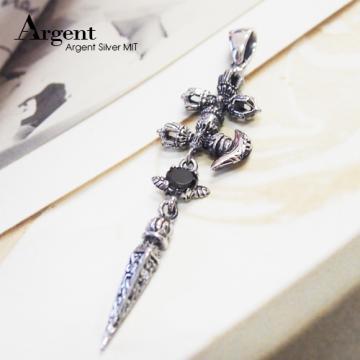 【ARGENT銀飾】潮流系列「錐(黑鑽)」 純銀項鍊 (染黑款)