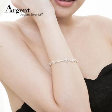 【ARGENT銀飾】花朵系列「五瓣花」純銀手鍊(無染黑)