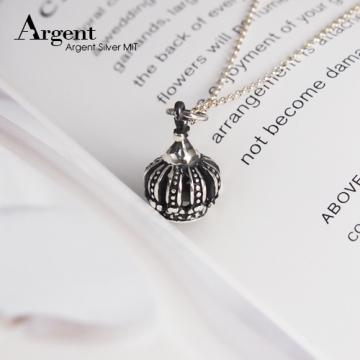 【ARGENT銀飾】皇冠系列「優雅花冠」純銀項鍊(染黑款)(單條價)