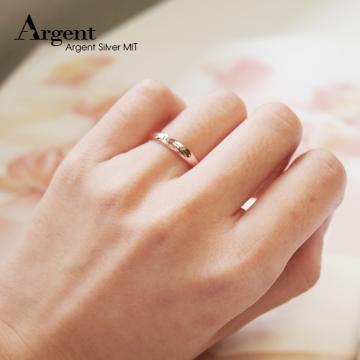 【ARGENT銀飾】美鑽系列「藏鑽-玫瑰金(女戒)」純銀戒指(版寬3mm)