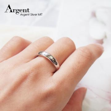 【ARGENT銀飾】美鑽系列「藏鑽-白K金(男戒)」純銀戒指(版寬4mm)