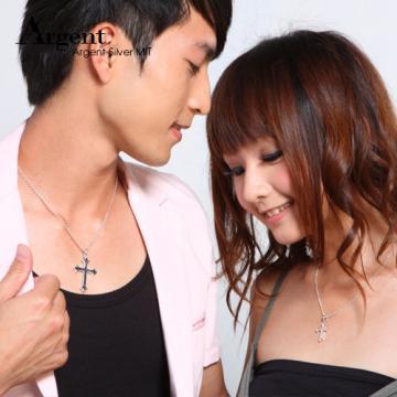 【ARGENT銀飾】情人對墜系列「聖十字(大+小)」純銀項鍊(一對價)