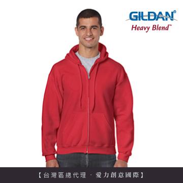 GILDAN 總代理-美規 連帽拉鍊素面長袖口袋外套(40C紅色)