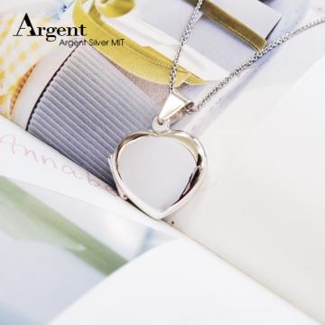 【ARGENT銀飾】潘朵拉寶盒系列「愛心鏡面(中.平)」純銀項鍊 (素面可加購刻字表心意)