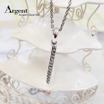 【ARGENT銀飾】造型系列「旋轉愛戀(黑鑽)」純銀項鍊