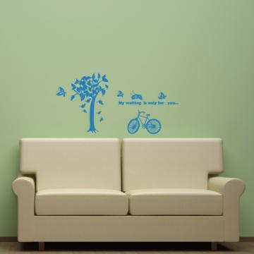 【Smart Design】創意無痕壁貼◆樹與腳踏車