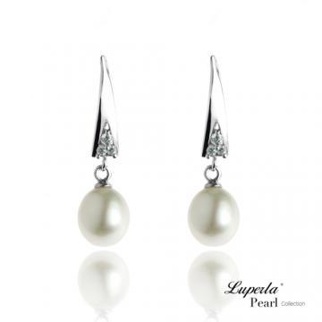 大東山珠寶 純銀晶鑽珍珠耳環 流星之愛