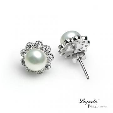 大東山珠寶純銀晶鑽珍珠耳環潔白之心