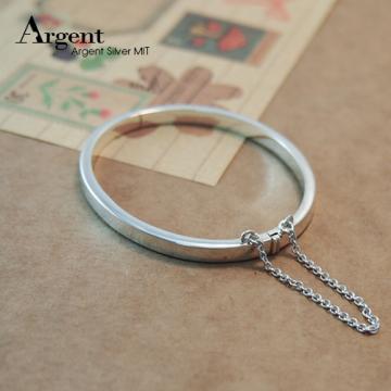 【ARGENT銀飾】彌月禮物系列「迷你簡約」純銀手環(橢圓形) (素面可加購刻字)