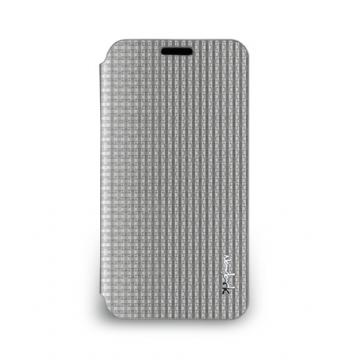 Galaxy S5- 絲光格紋皮套- 霧鉻銀