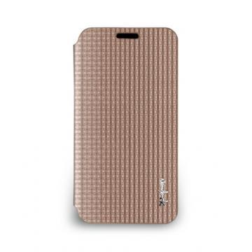 Galaxy S5- 絲光格紋皮套- 玫瑰金