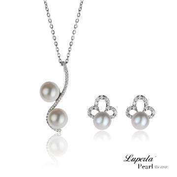 大東山珠寶 一世傾心 純銀晶鑽珍珠項鍊耳環套組