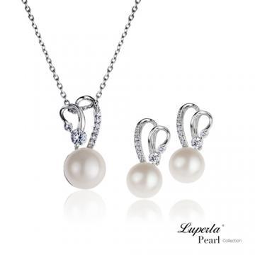 大東山珠寶 珍愛一世 純銀晶鑽珍珠項鍊耳環套組 名模...