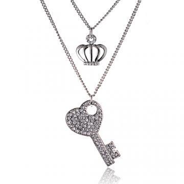 Luperla 璀璨滿鑽 搖滾心鑰晶鑽項鍊