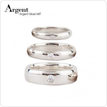 【ARGENT銀飾】美鑽系列「經典」純銀戒指(外圍單鑽)(版寬3mm/4mm/6mm)(單只價)