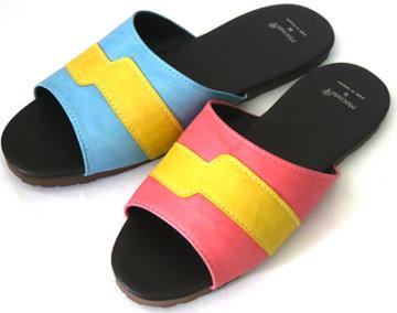 (e鞋院)馬卡龍撞色舒適室內拖鞋