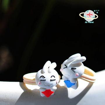 <Air planet 手工飾品>軟陶情侶戒指_盟兔