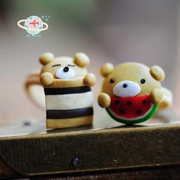 <Air planet 手工飾品>軟陶情侶戒指_懶熊