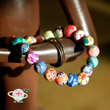 <Air planet 手工飾品>七色軟陶珠手鍊