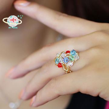 <Air planet 手工飾品>五彩水晶米珠戒指
