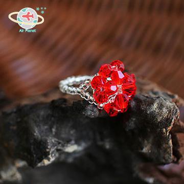<Air planet 手工飾品>紅水晶花瓣米珠戒指