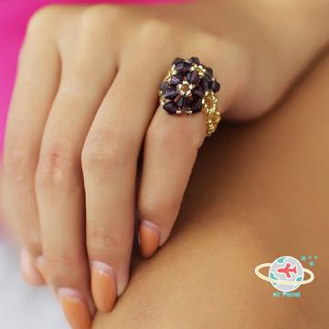 <Air planet 手工飾品>紫水晶米珠戒指