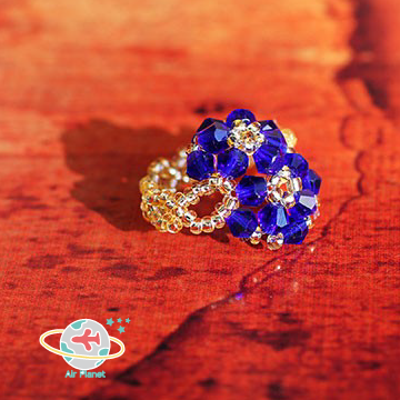 <Air planet 手工飾品>藍水晶米珠戒指