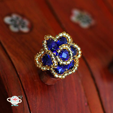 <Air planet 手工飾品>藍水晶米珠(金邊)戒指