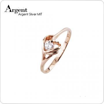 【ARGENT銀飾】微鑲鉑銀閃亮系列「簡愛(玫瑰金)」純銀戒指