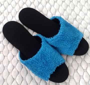(e鞋院)[馬卡龍絨毛]舒適皮拖鞋-藍