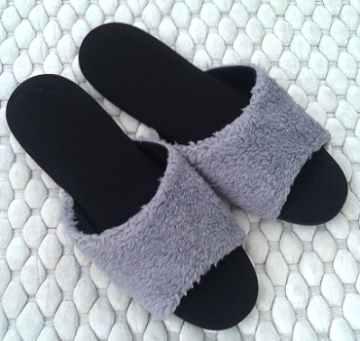 (e鞋院)[馬卡龍絨毛]舒適皮拖鞋-灰