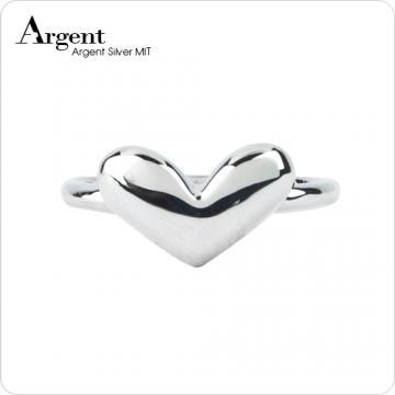 【ARGENT銀飾】愛心系列「桃心」純銀戒指