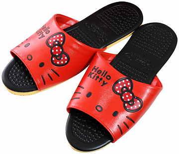 (e鞋院)HELLO KITTY- 按摩顆粒室內皮拖鞋 (紅)