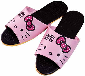 (e鞋院)HELLO KITTY- 按摩顆粒室內皮拖鞋 (粉)