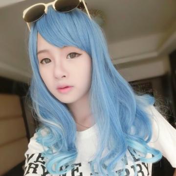 【MA155】角色扮演/挑染COS淡藍漸變挑染灰梨花中長髮