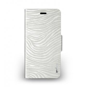 iPhone 6 Plus - 斑馬紋側掀站立式保護套 - 珍珠白