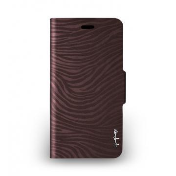 iPhone 6 Plus - 斑馬紋側掀站立式保護套 - 古銅棕