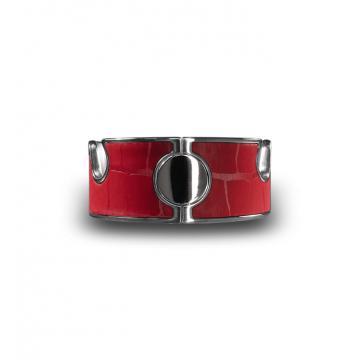 Navjack-鱷魚壓紋不銹鋼手機架手環- 嫣紅色