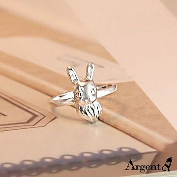 【ARGENT安爵銀飾精品】動物系列「大耳兔(無染黑) 」純銀戒指