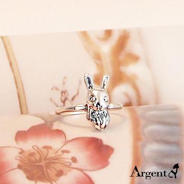 【ARGENT安爵銀飾精品】動物系列「大耳兔(染黑) 」純銀戒指 硫化染黑處理